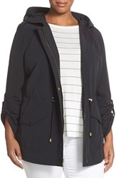 Plus Size Women's Ellen Tracy Roll Sleeve Sailcloth Anorak