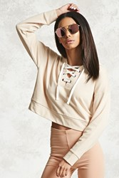 Forever 21 Cropped Lace Up Hoodie