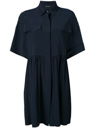 Erika Cavallini Flared Mini Dress Women Silk Acetate 42 Blue