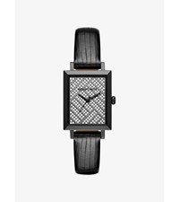 Harway Pave Gunmetal Tone And Embossed Leather Watch Black