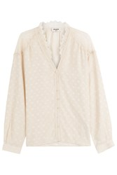 Zadig And Voltaire Silk Blouse With Lace Beige
