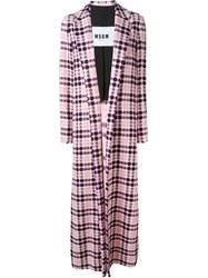 Msgm Long Line Tweed Coat Pink And Purple