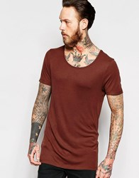 Asos Longline Muscle T Shirt With Scoop Neck In Rib In Rust Chestnut