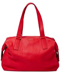 Fossil Preston Leather Satchel Real Red