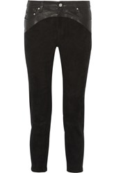 Iro Wacrie Cropped Leather Paneled Suede Skinny Pants Black