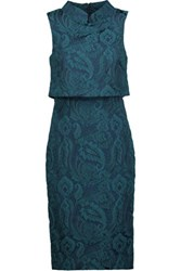 Badgley Mischka Layered Jacquard Dress Midnight Blue