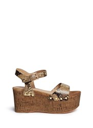 Ash 'Capri Bis' Snake Effect Leather Cork Platform Sandals Animal Print