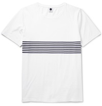 Nn.07 Todd Striped Cotton Jersey T Shirt White