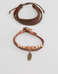 Asos Leather Bracelet Pack In Tan With Feather Charm Tan
