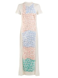 Loewe Crinkled Gingham Panel Dress White Multi