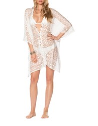 Becca Swim Poetic Sheer Lace Kimono Cover Up White