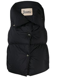 Herno Quilted Oversized Collar Gilet Black