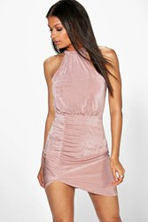 Boohoo Textured Slinky Ruched Bodycon Dress Rose