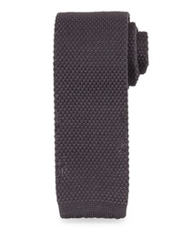 Neiman Marcus Slim Textured Solid Knit Tie Charcoal
