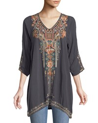 Johnny Was Mikaela 3 4 Sleeve Embroidered Tunic Plus Size Graphite