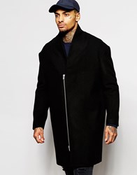 Asos Cocoon Wool Overcoat In Black