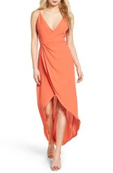 Astr The Label Women's Penelope Surplice Maxi Dress Hot Coral