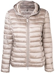 Save The Duck Hooded Quilted Jacket Nude And Neutrals