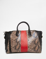 Urbancode Striped Faux Snakeskin Leather Tote Bag Snake Red Black