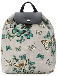 Longchamp Butterfly Print Backpack Grey