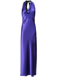 Lanvin Cowl Neck Gown Women Polyester Triacetate 38 Blue