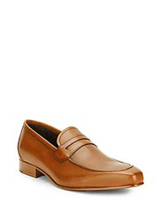 Massimo Matteo Stacked Heel Leather Penny Loafers Cognac