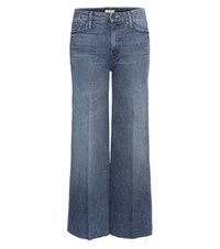 Mother The Roller Ankle Fray Wide Leg Jeans Blue