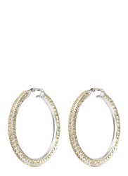 Kenneth Jay Lane Glass Crystal Rhodium Plated Hoop Earrings Yellow