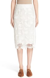 Grey Jason Wu Women's Embroidered Lace Pencil Skirt