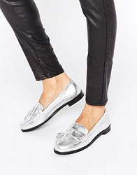 Park Lane Leather Tassle Loafer Silver Leather