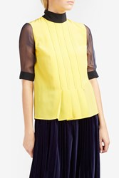 Marco De Vincenzo Sheer Sleeve Blouse Yellow