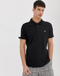Threadbare Polo Shirt With Cut And Sew Panels Black