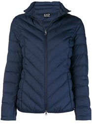 Emporio Armani Ea7 Zipped Puffer Jacket Blue