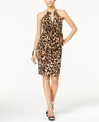 Thalia Sodi Animal Print Halter Faux Wrap Dress Only At Macy's Leopard