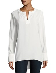 Ellen Tracy Neo Romanticism Split V Neck Tunic White