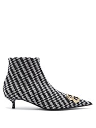 Balenciaga Houndstooth Bb Ankle Boots Black White