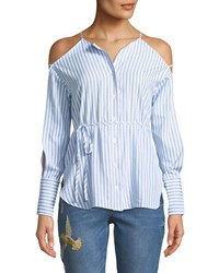 Stylekeepers Be Adored Cold Shoulder Blouse Blue White