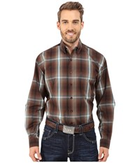 Stetson Mahogany Ombre Brown Men's Long Sleeve Button Up