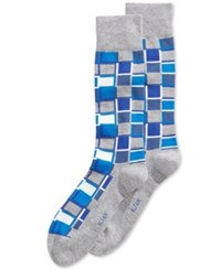 Alfani Men's Cubist Grid Socks Only At Macy's Blue Grey