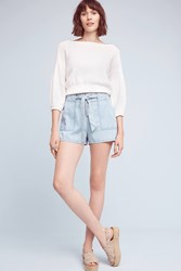 Anthropologie Chambray Paperbag Waisted Shorts Sky