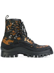 Dsquared2 Camouflage Chunky Boots Men Cotton Leather Suede Rubber 43 Black