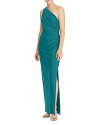 Ralph Lauren One Shoulder Ruched Gown With Brooch French Teal