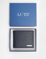 Armani Jeans Saffiano Leather Billfold Wallet Blue