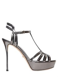 Sergio Rossi 120Mm Ines Metallic Leather Sandals