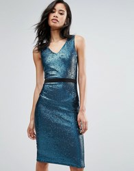 Paper Dolls Sequin Pencil Dress Teal Black Blue