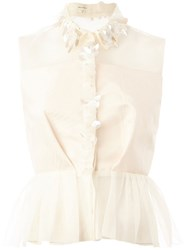 Delpozo Embellished Peplum Top Nude And Neutrals
