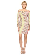 Just Cavalli Iridescent Python Print Off The Shoulder Dress Apricot Variant Women's Dress Beige
