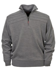 Oscar Jacobson Orson Lined Half Zip Jumper Light Grey