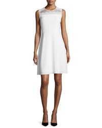 Elie Tahari Bevin Sleeveless Lace Yoke Dress Pearl