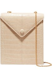 Nanushka Tove Croc Effect Vegan Leather Shoulder Bag White